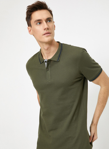 Koton Polo Yaka Kolu ve Yakasi Çzigili Slim Fit T-Shirt Yeşil